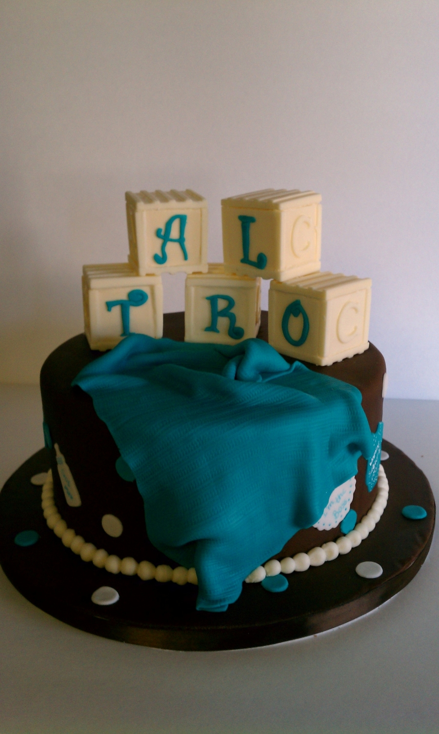 Turquoise Block Baby on Cake Central