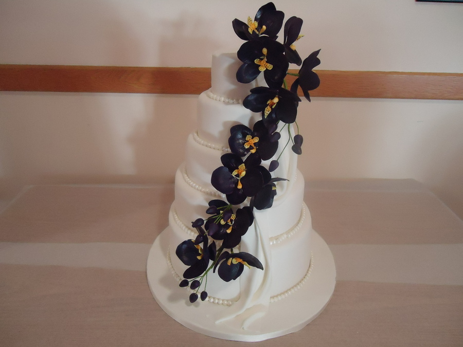 Orchids Wedding Cake. on Cake Central