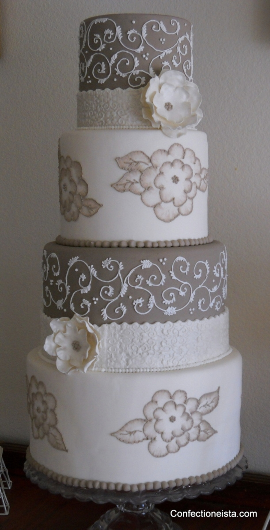 Taupe & White on Cake Central