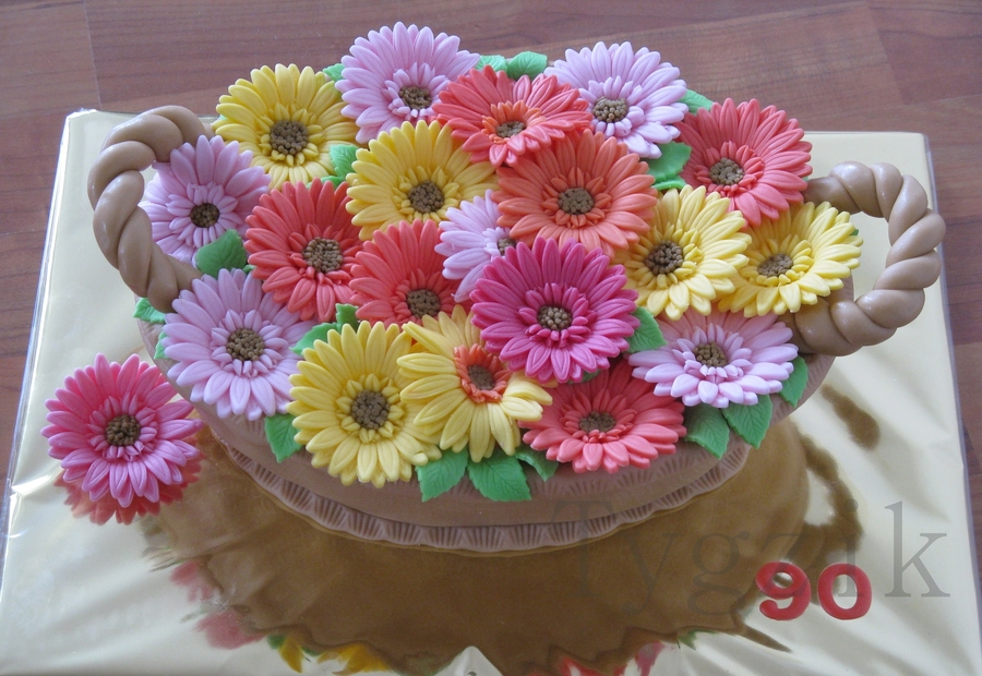 Basket With Gerbera on Cake Central