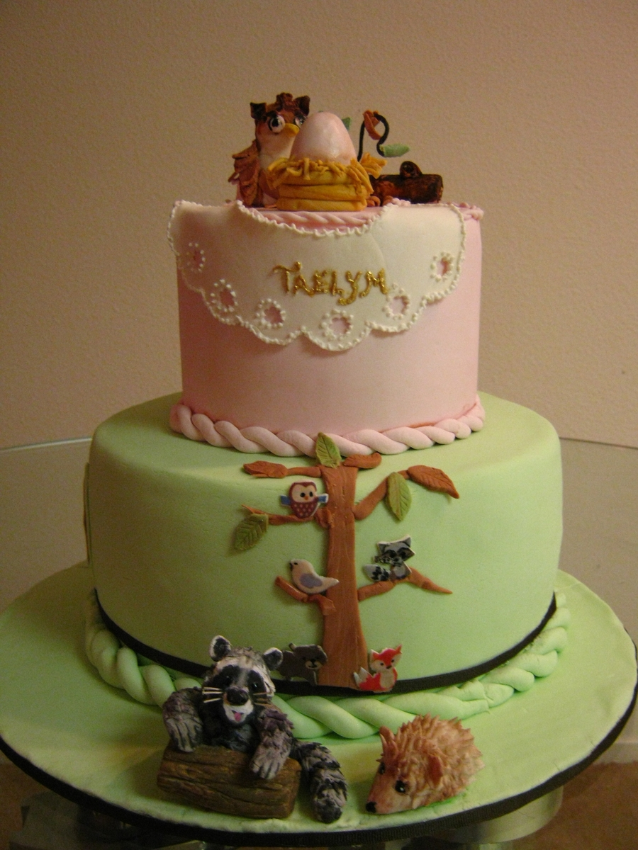 Forest Friends Baby Shower Cake CakeCentralcom