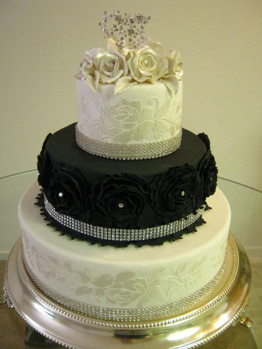Black And White Bling Wedding Cake - CakeCentral.com