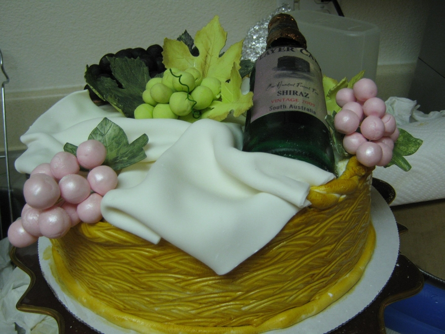Wine Basket Cake on Cake Central