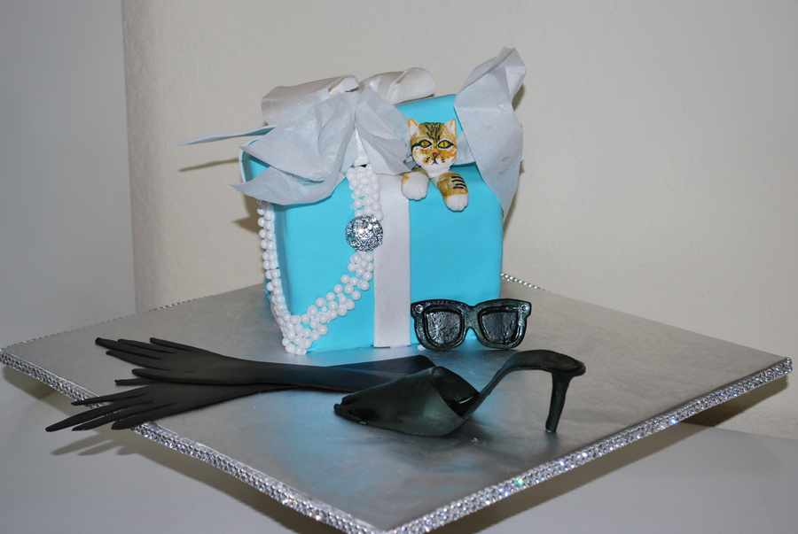 Breakfast At Tiffanys For My Audrey Hepburn Obsessed 14 Year Old Daughter Everything Is Edible Except The Rhinestone Pendant The Cat Is  on Cake Central