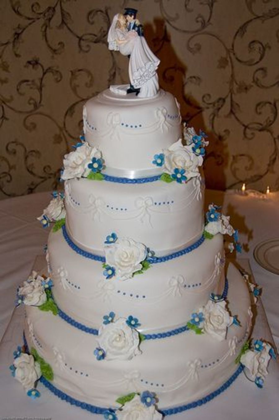 Blue And White Wedding on Cake Central