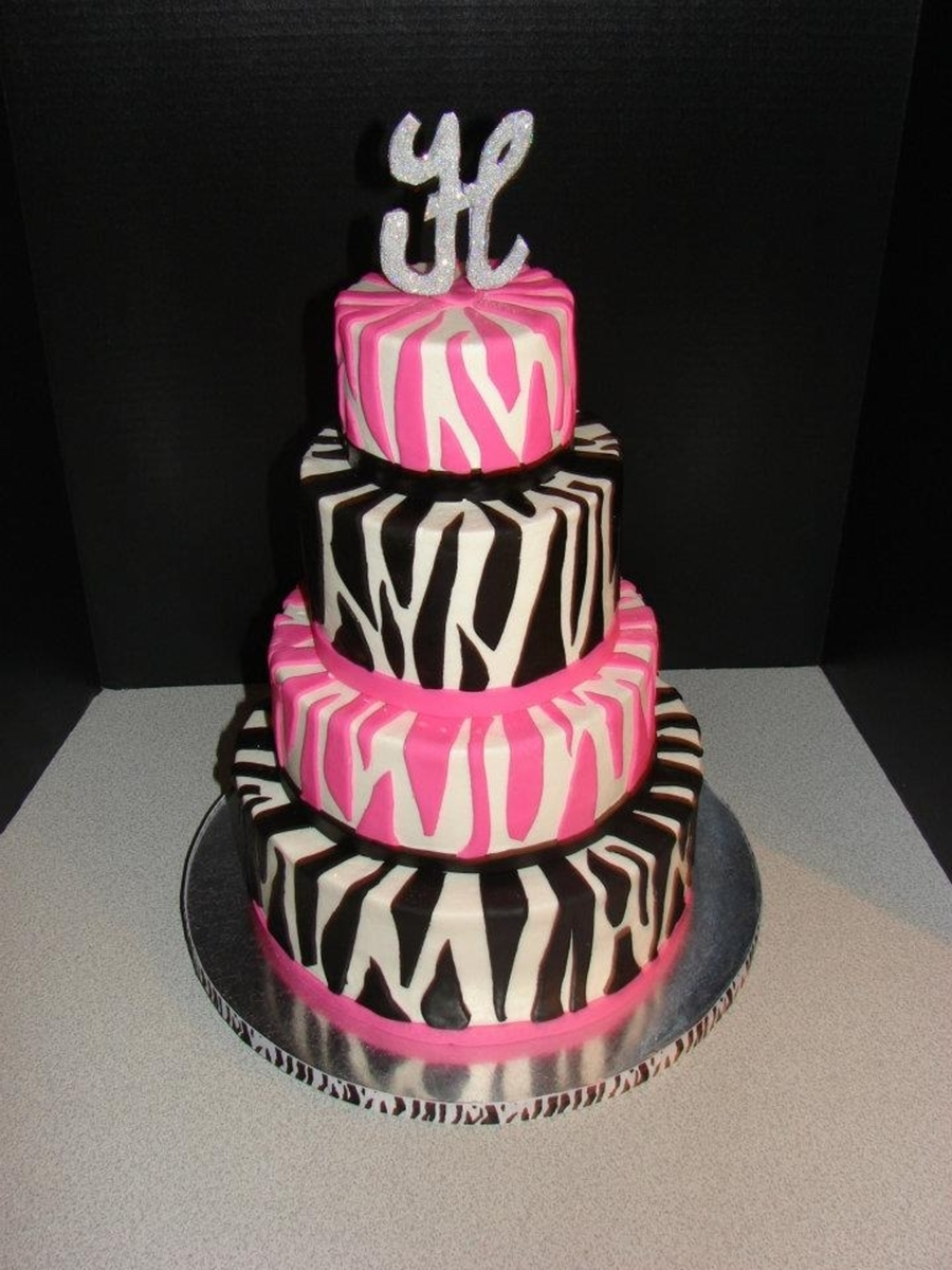 pink black and white zebra baby shower on cake central
