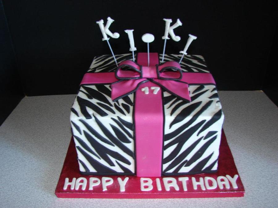 Zebra Gift Box on Cake Central