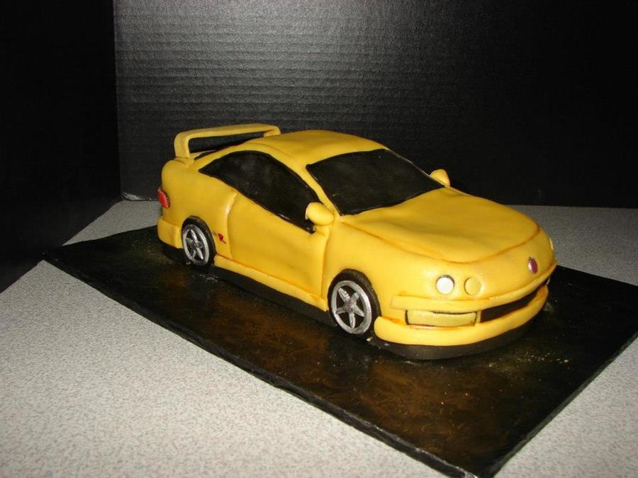 acura integra type r approx 11 inches long white cake with fondant
