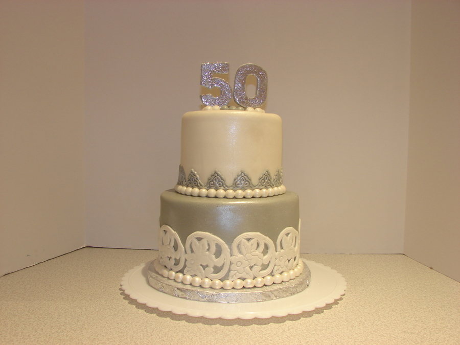 2 Tone Tier 50Th Birthday On Cake Central