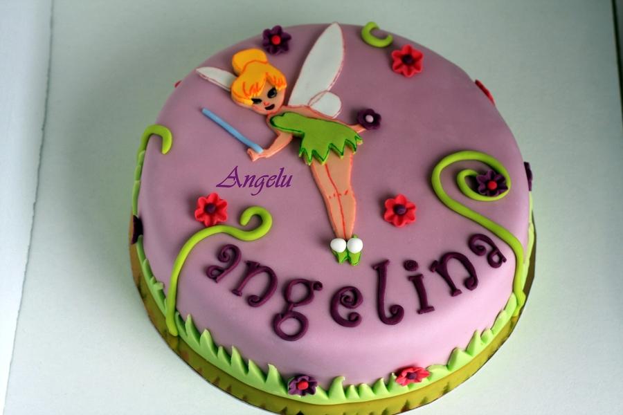 Tinkerbelle cake all sugarpaste for Decoration chambre la fee clochette