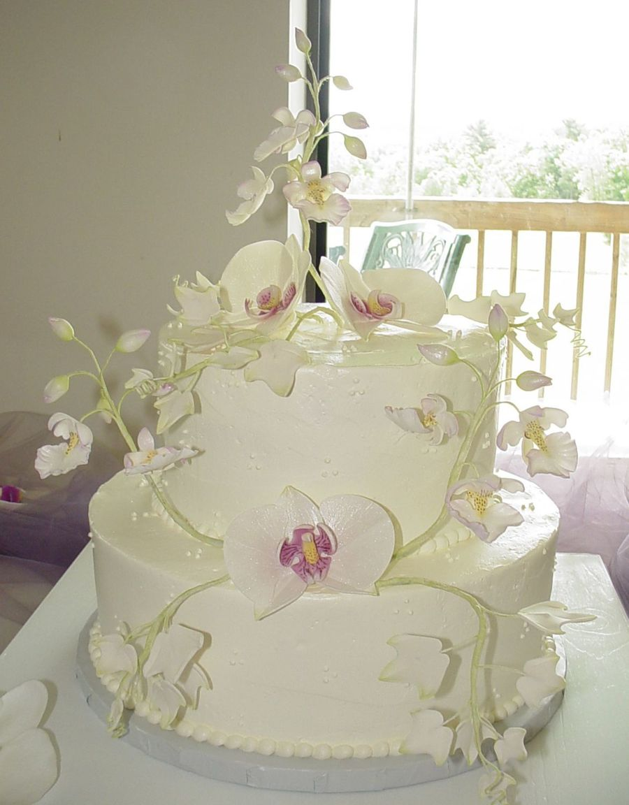 Moth And Oncidium Orchids Wedding Cake on Cake Central