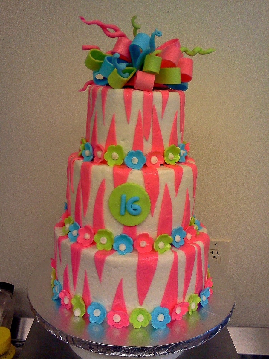 Pink Zebra Sweet 16 on Cake Central