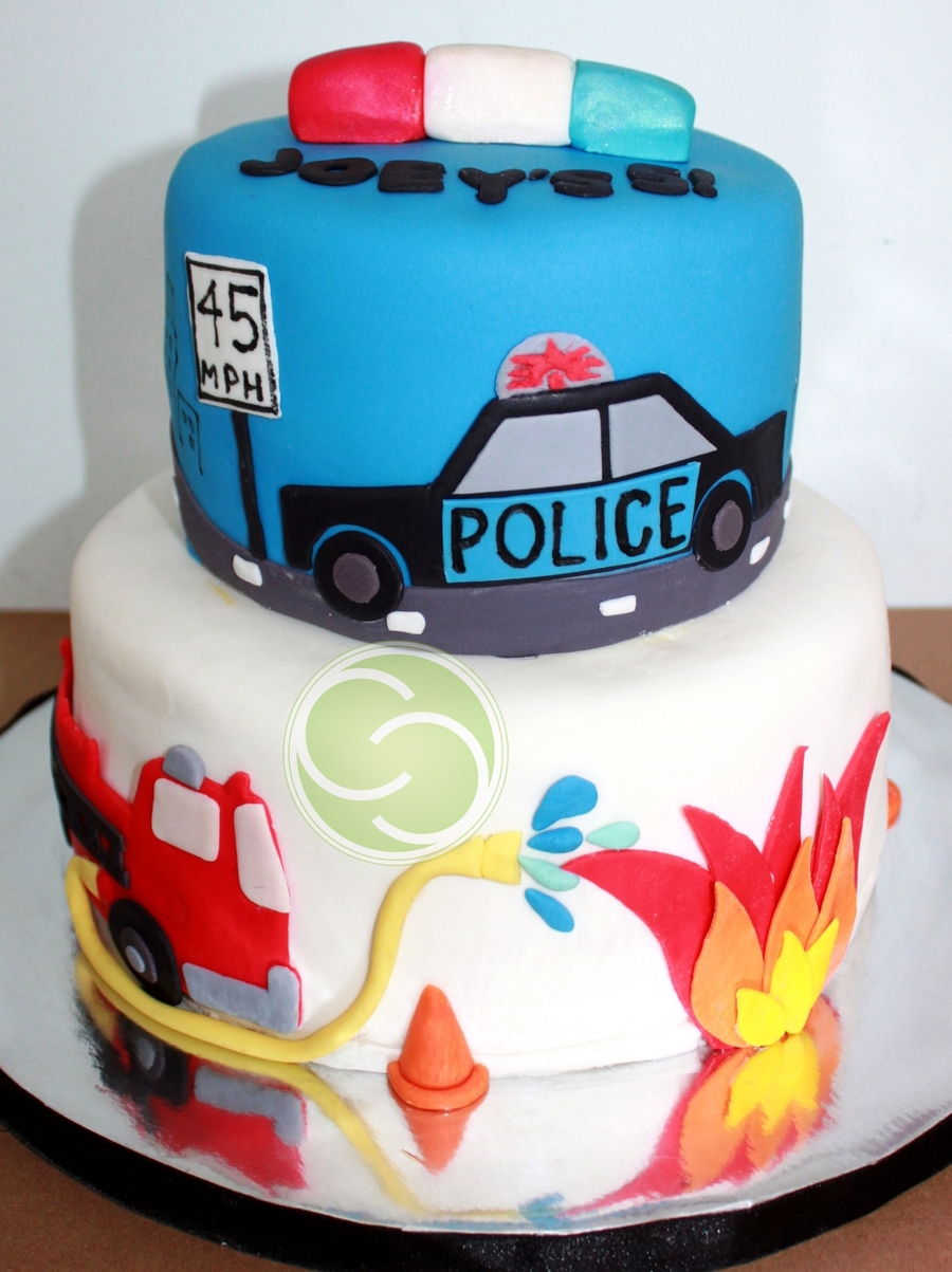 Police Car And Fire Truck Themed 5Th Birthday CakeCentralcom