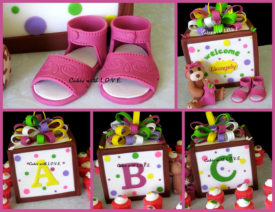Baby Block With Teddy And Sandals on Cake Central