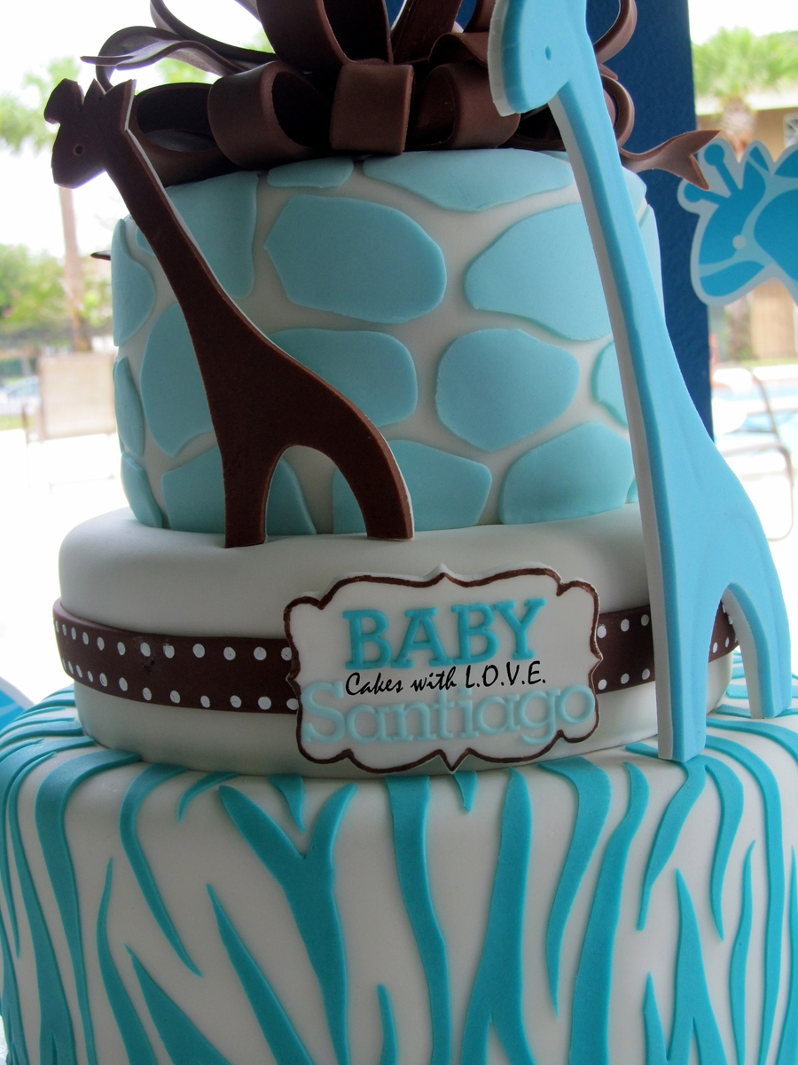 wild safari blue baby shower cake