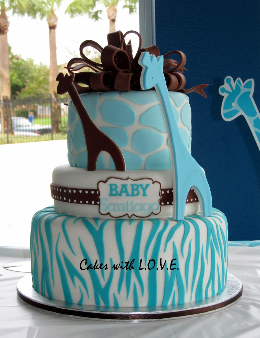Wild Safari Blue Baby Shower Cake