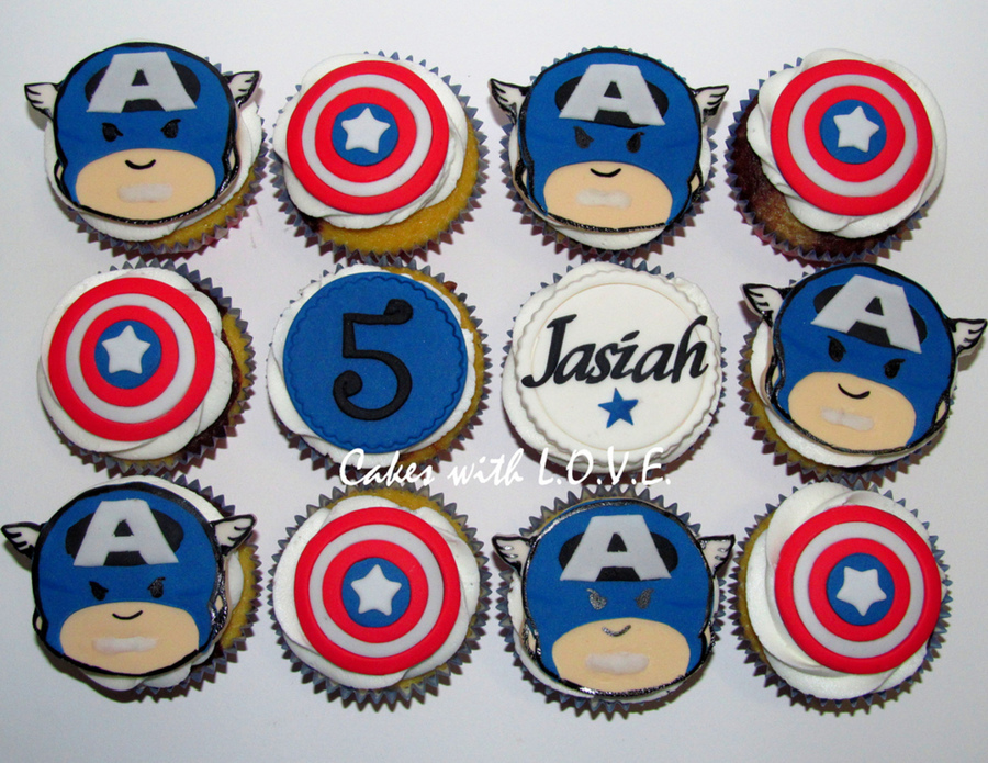 Captain America Cupcakes on Cake Central