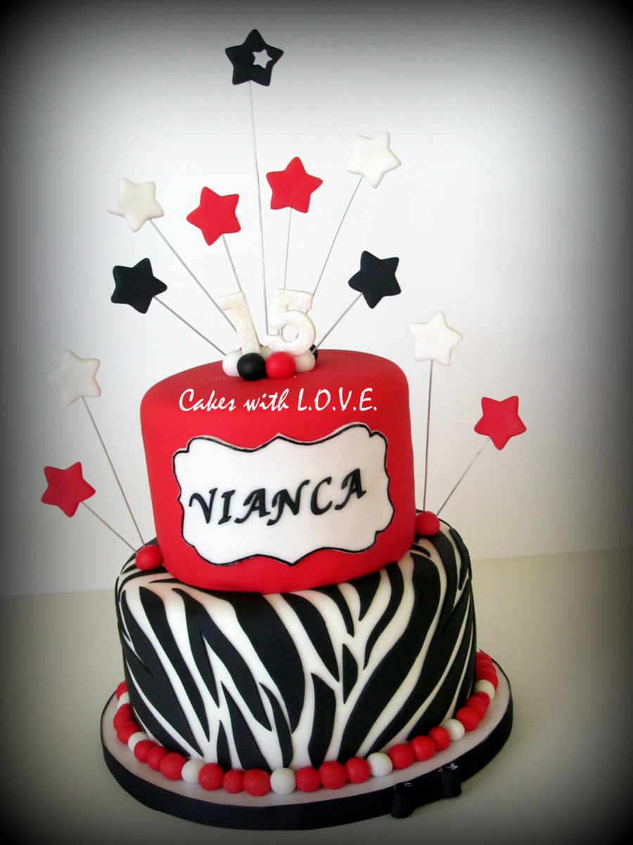 Red, White And Black Quinceanero on Cake Central