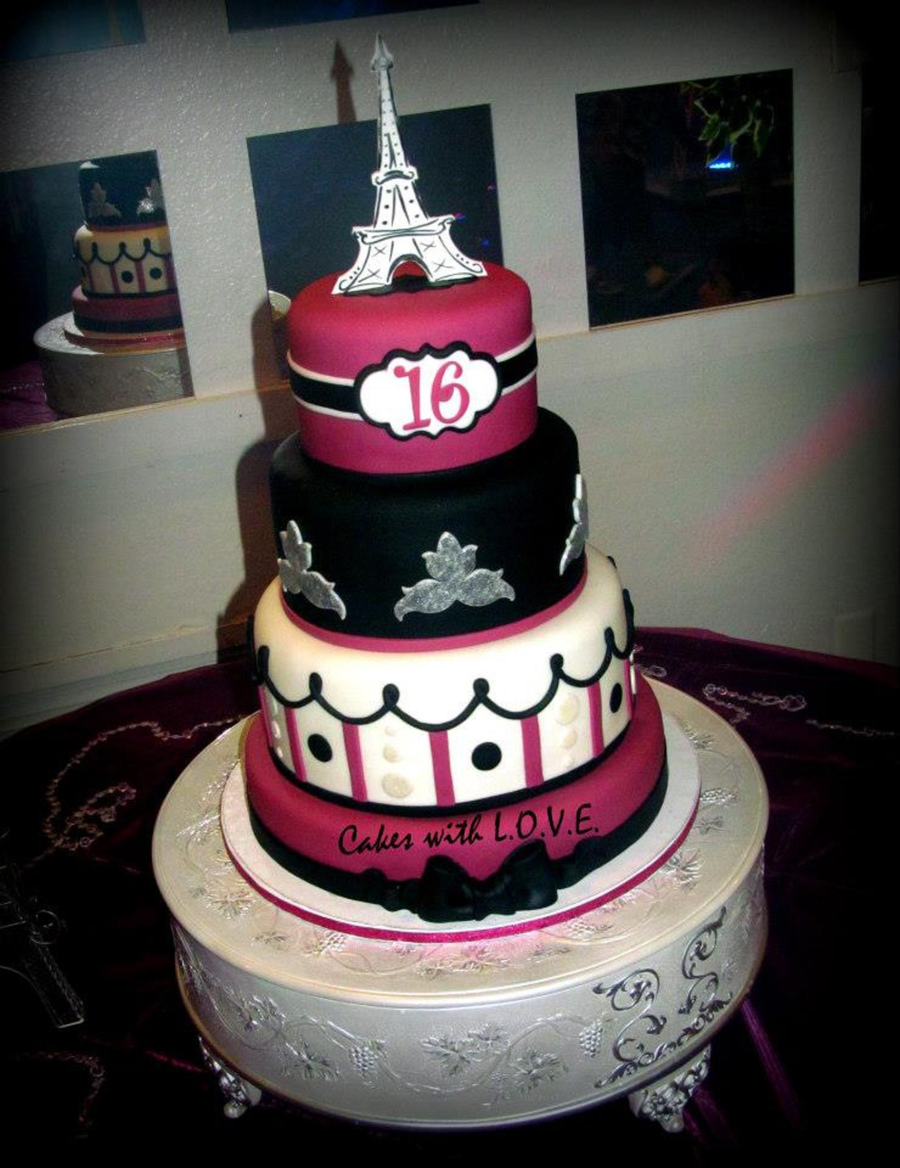 Fushia Paris Themed Cake on Cake Central
