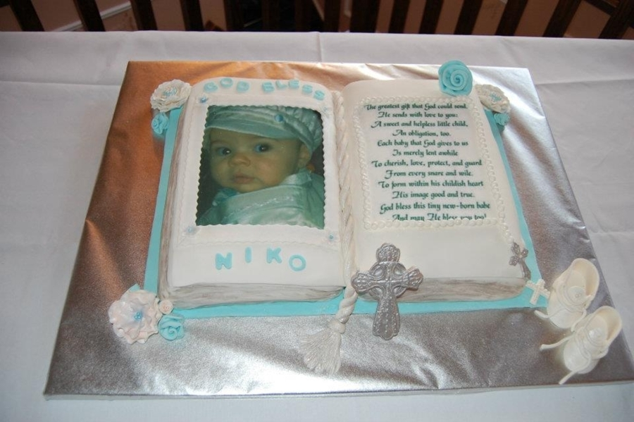 Christening Open Book Bible Cake Cakecentral Com