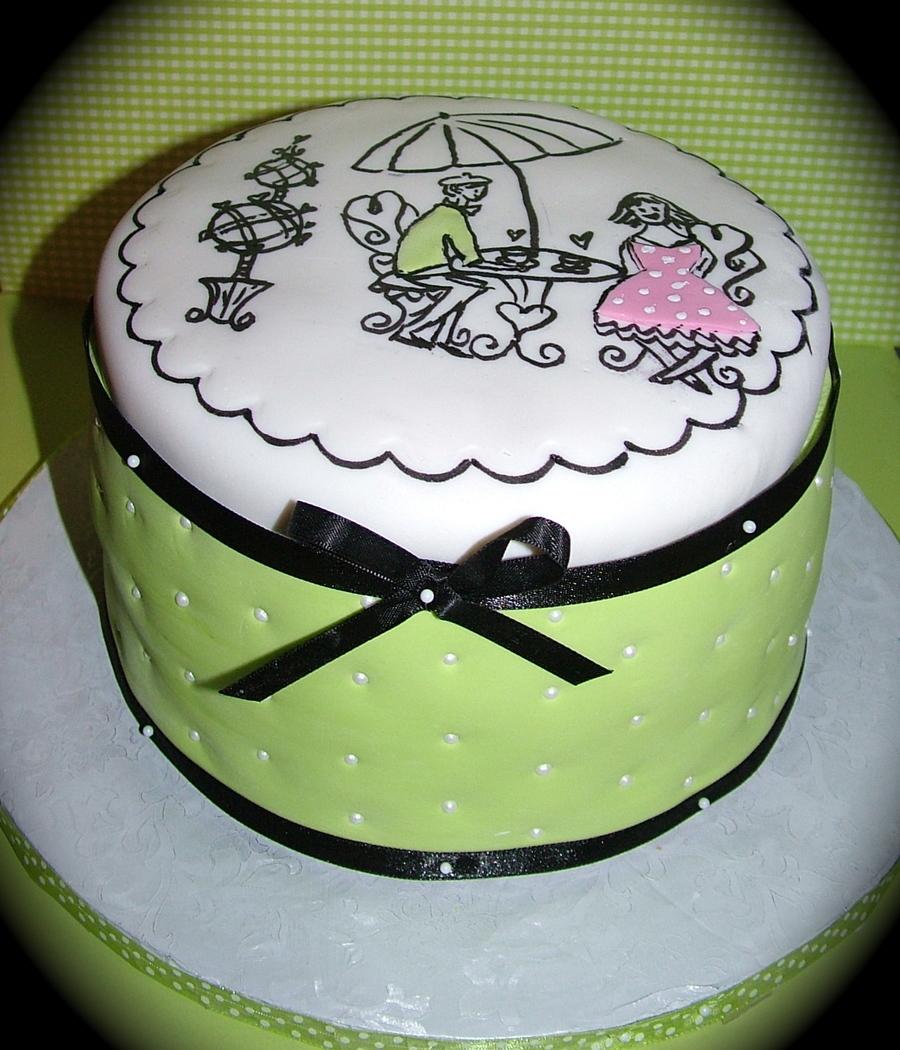 French Cafe Birthday Cake