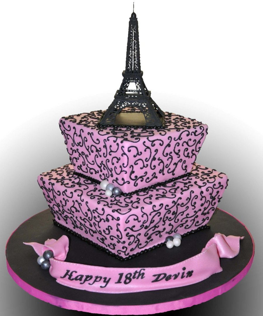 Peachy Eiffel Tower Cake Cakecentral Com Funny Birthday Cards Online Aeocydamsfinfo
