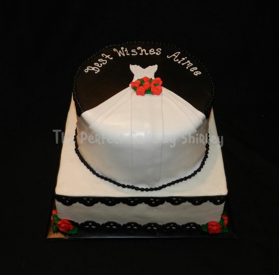 Black/white Wedding Gown Bridal Shower Cake on Cake Central