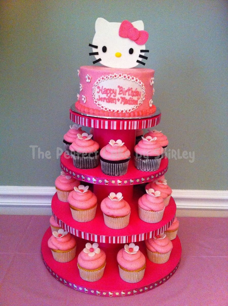Hello Kitty Cake And Cupcakes on Cake Central
