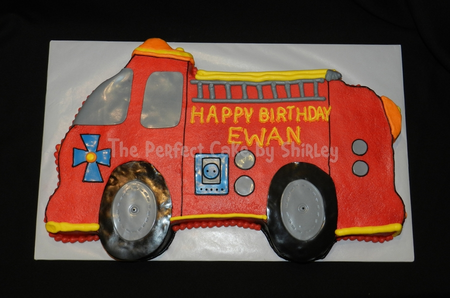Fire Truck Cutout Cake on Cake Central