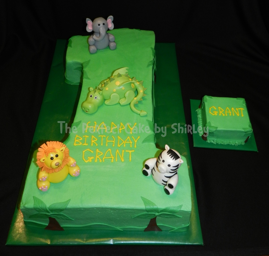 Jungle 1st Birthday Cake Carved From Two Layer 12x18 Sheet