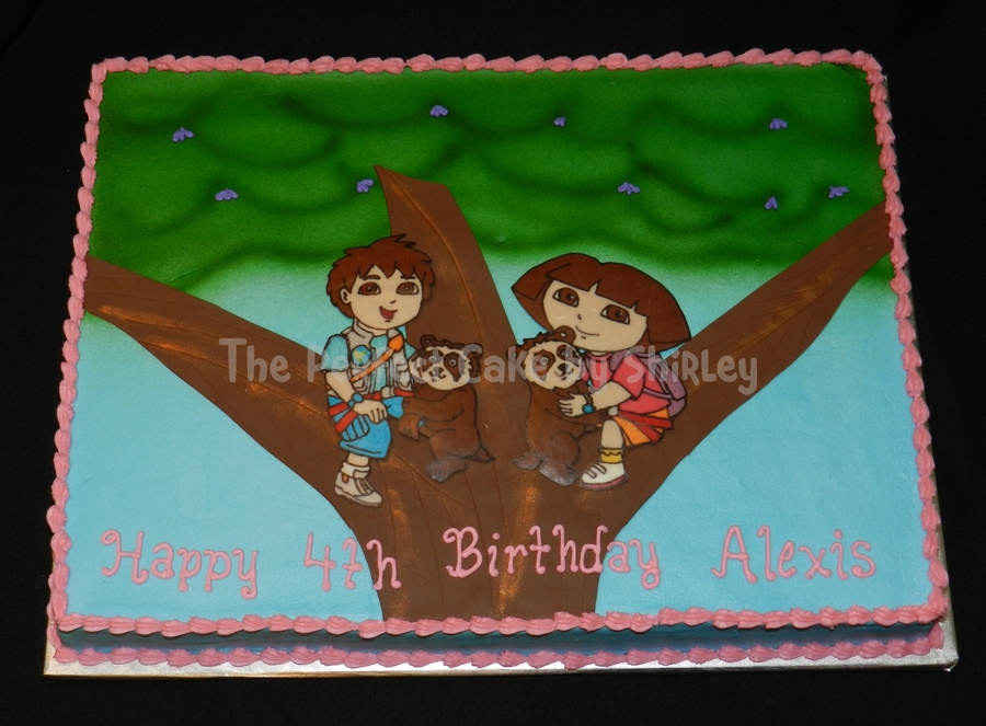 Dora And Diego Sheet Cake Based On The Invitation Iced In Buttercream Airbrushed Leaves Fondant Tree Trunk Chocolate Transfer Figures on Cake Central
