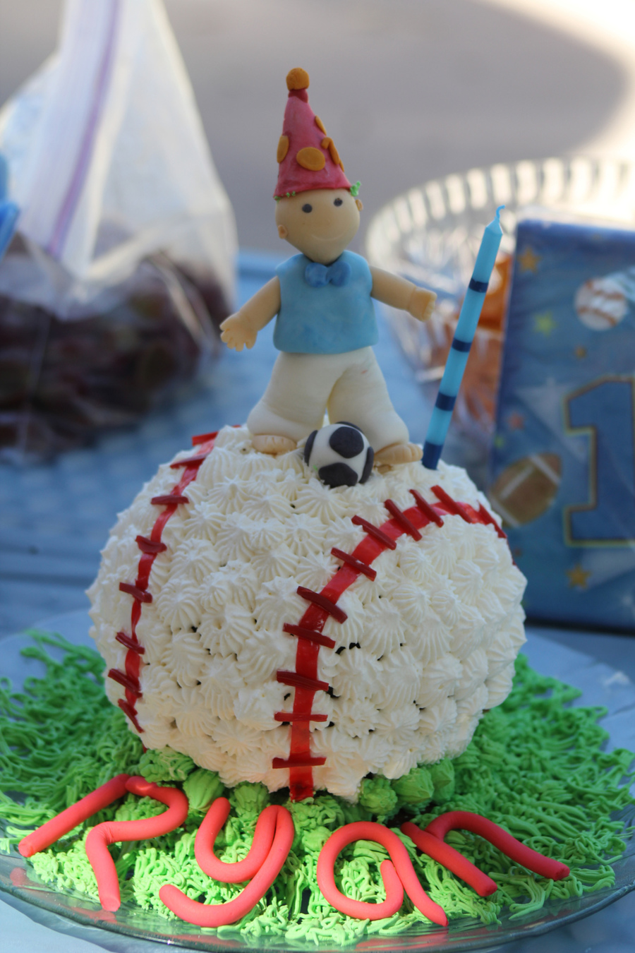 1St Birthday Smash Cake I Used Fruit Roll Ups To Make The Stitches On The Ball And The Little Boy On Top Is All Fondant on Cake Central