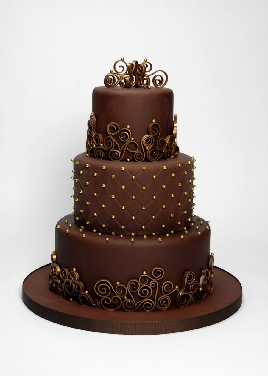 Chocolate & Gold Three Tier on Cake Central