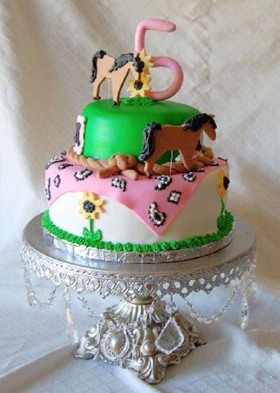 Girls Horse Themed Birthday Cake CakeCentralcom