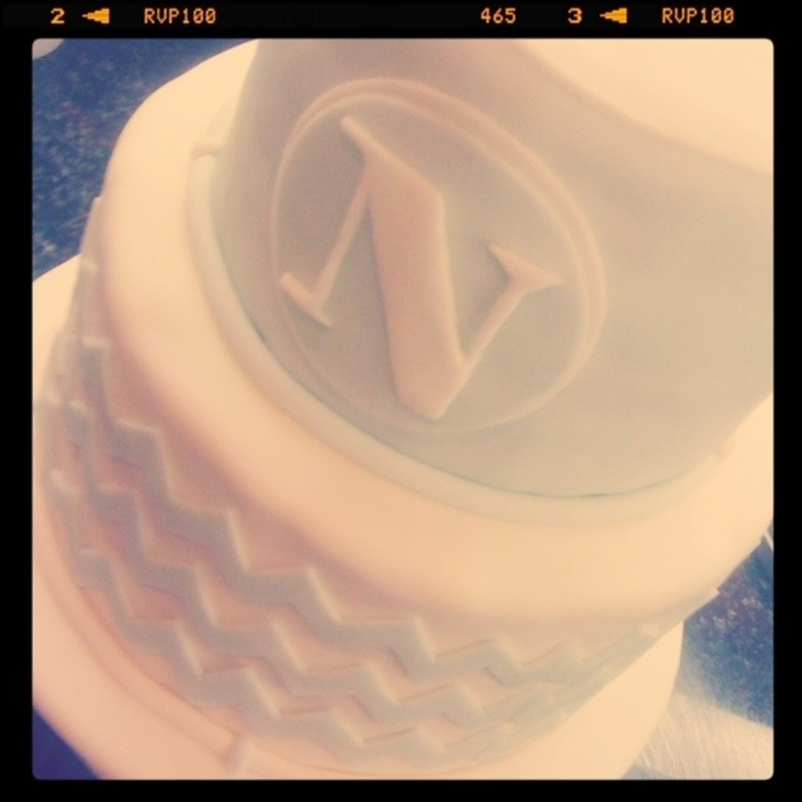 Chevron Baby Cake on Cake Central