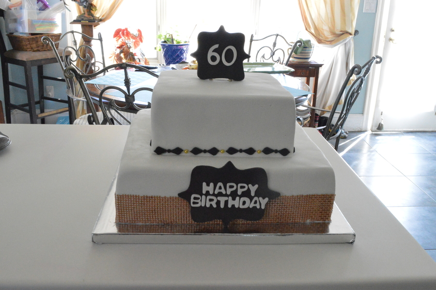 60Th Birthday, Burlap And Chalkboard Theme on Cake Central