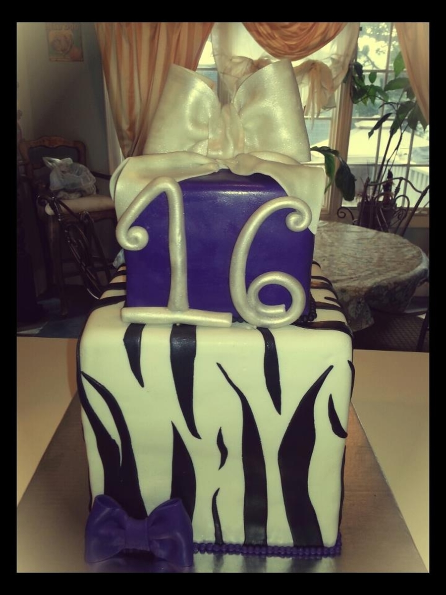 Zebra Print Sweet 16 Cake on Cake Central
