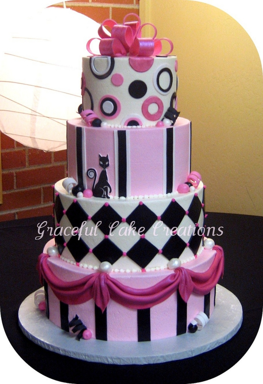 pink black and white wedding cakes with flowers pink black and white whimsical wedding cake cakecentral 18568