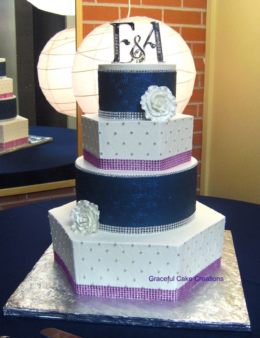 Elegant Navy Blue White And Pink Wedding Cake
