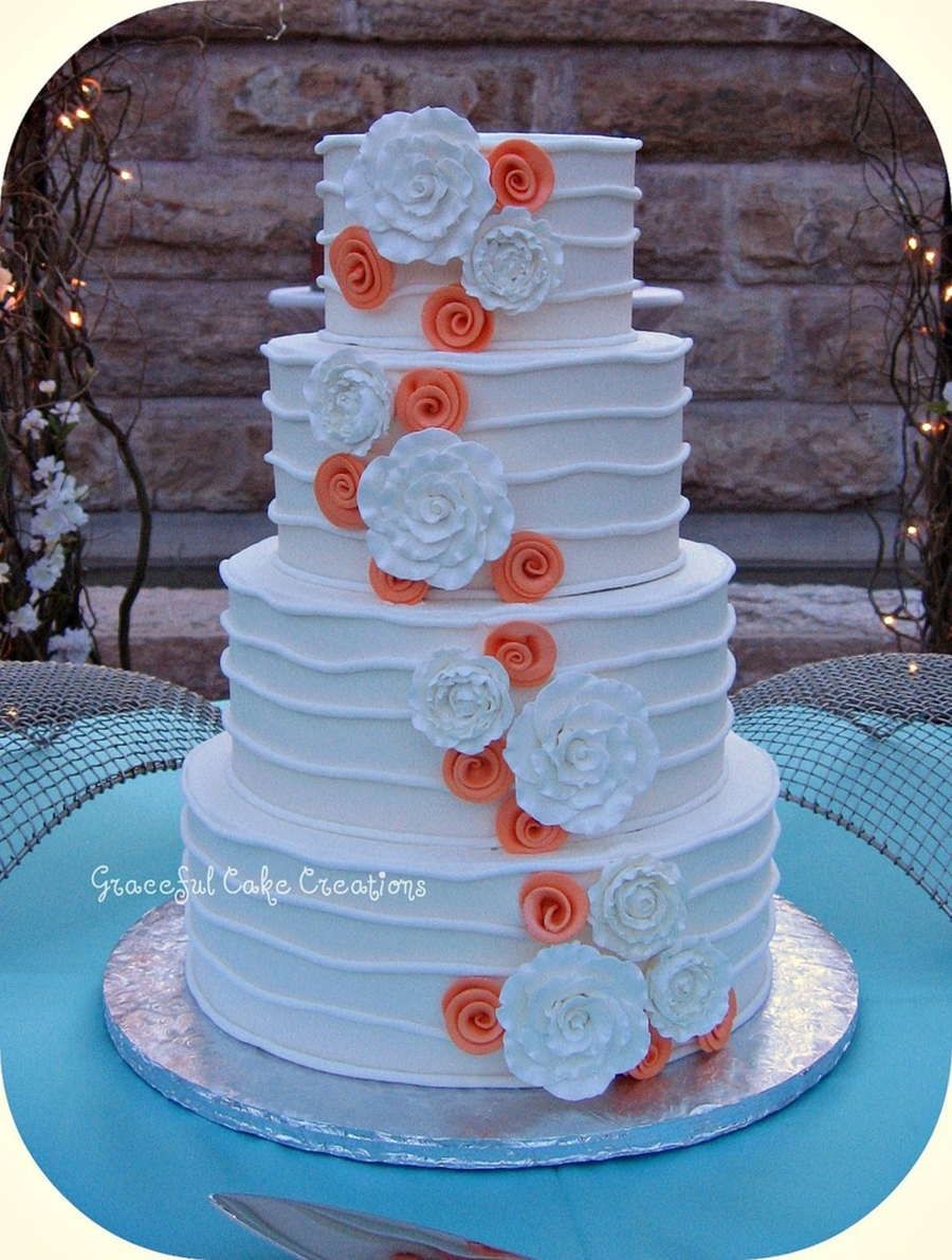 Cake Decorating Store In Mesa Az : Modern White Wedding Cake - CakeCentral.com
