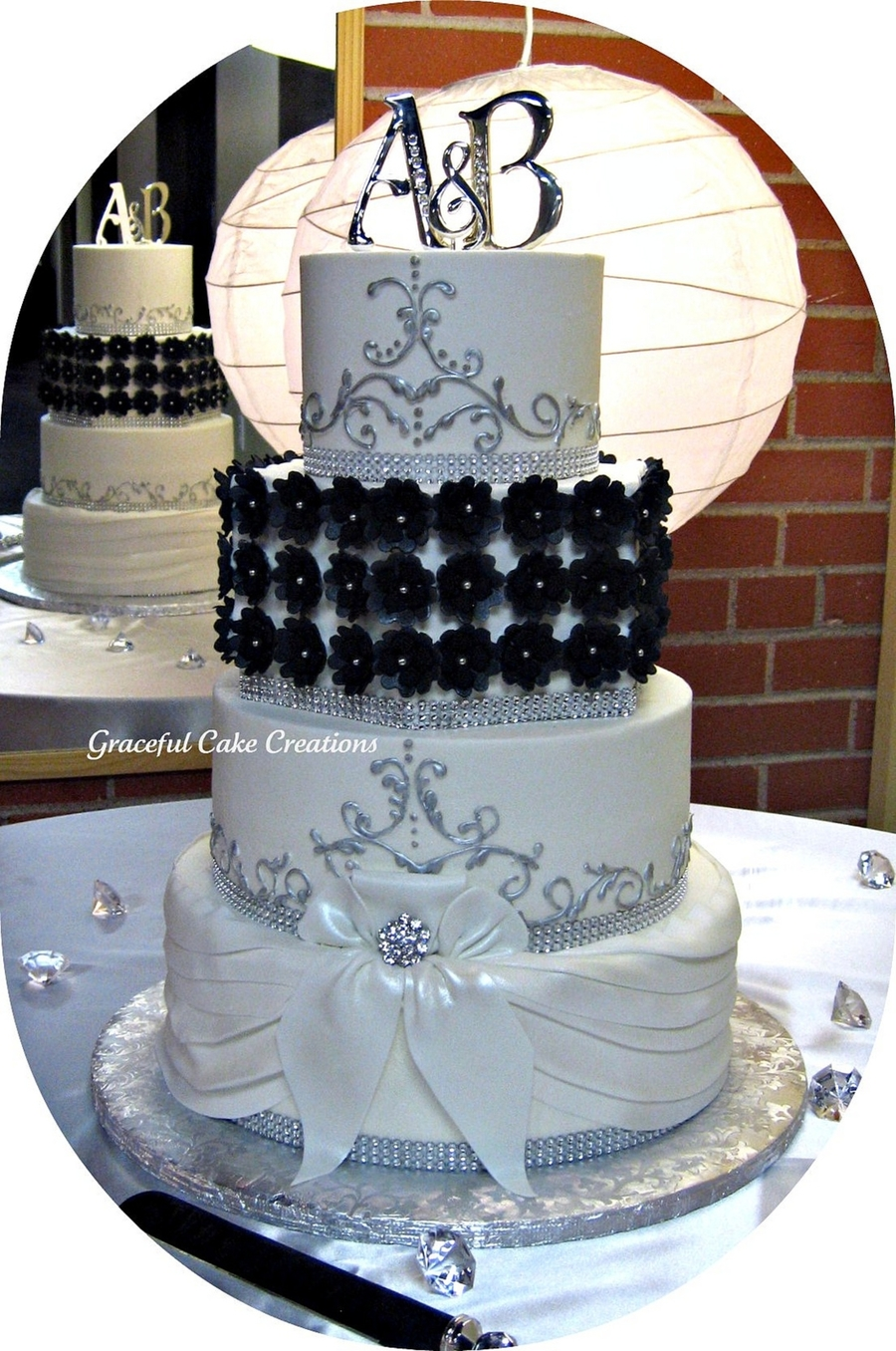 black silver and white wedding cakes black white and silver wedding cake cakecentral 11877