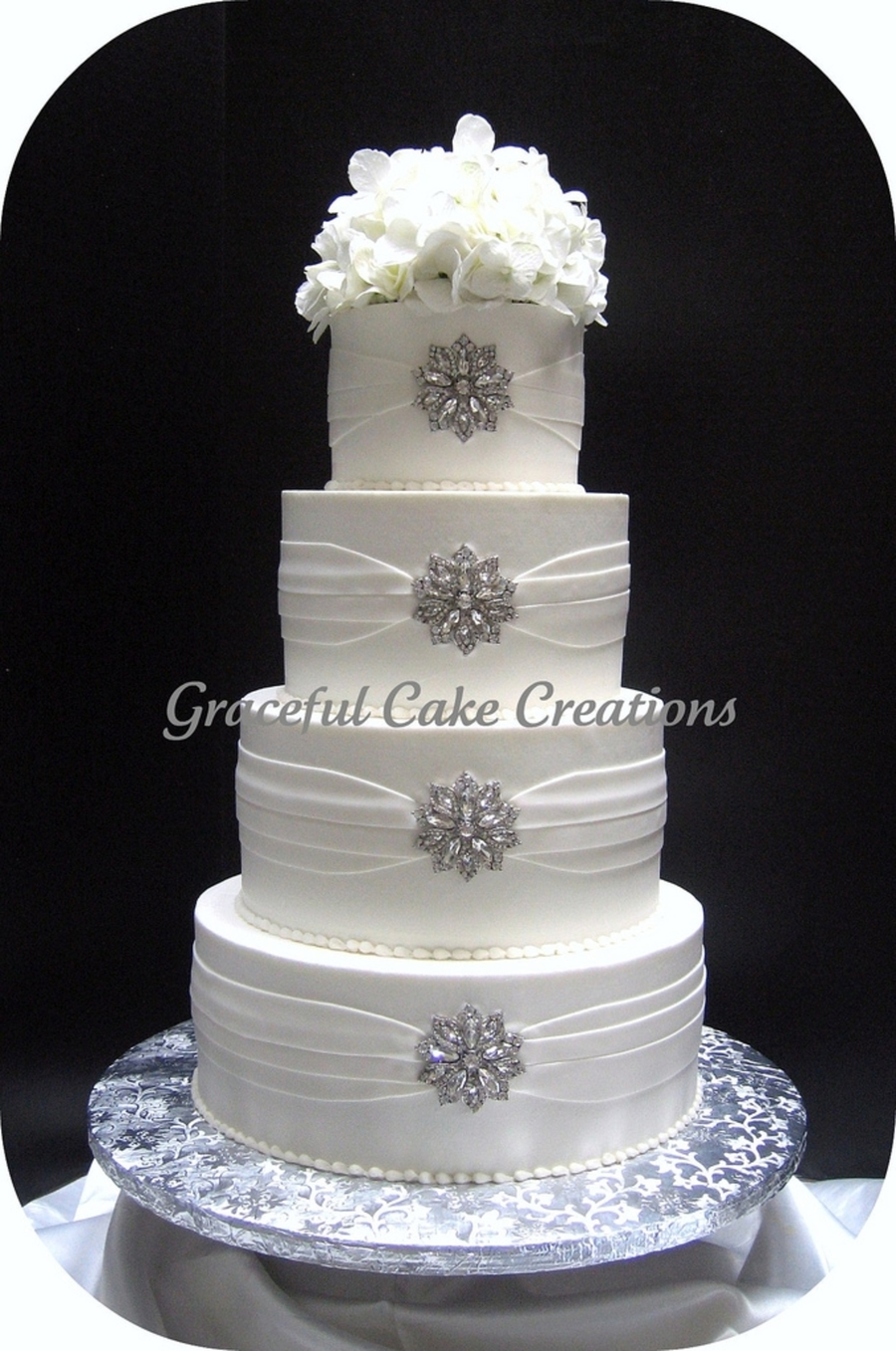 elegant white and silver wedding cakes white wedding cake cakecentral 13999