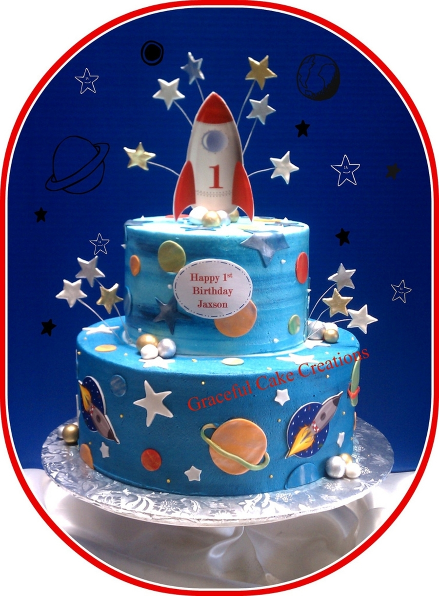 Remarkable Rocketship Birthday Cake Cakecentral Com Funny Birthday Cards Online Overcheapnameinfo