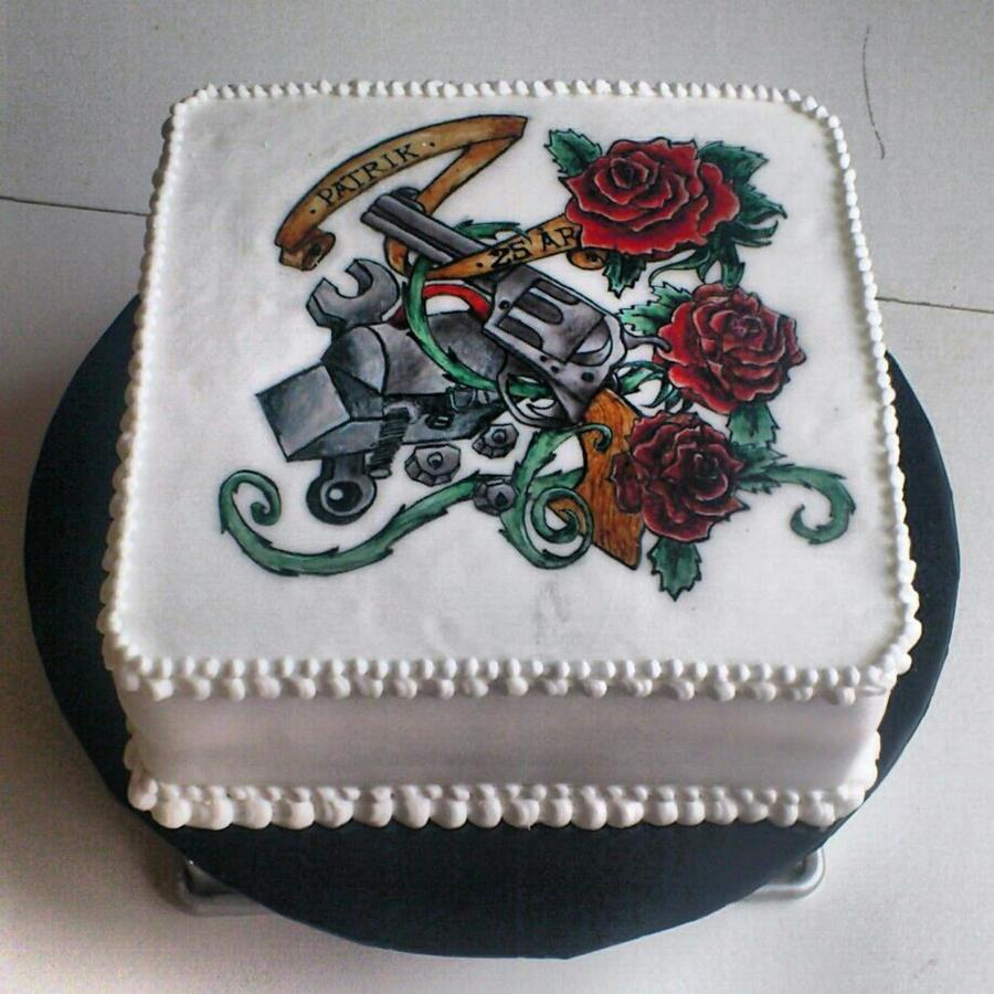 Old School Tattoo Cake Handpainted on Cake Central