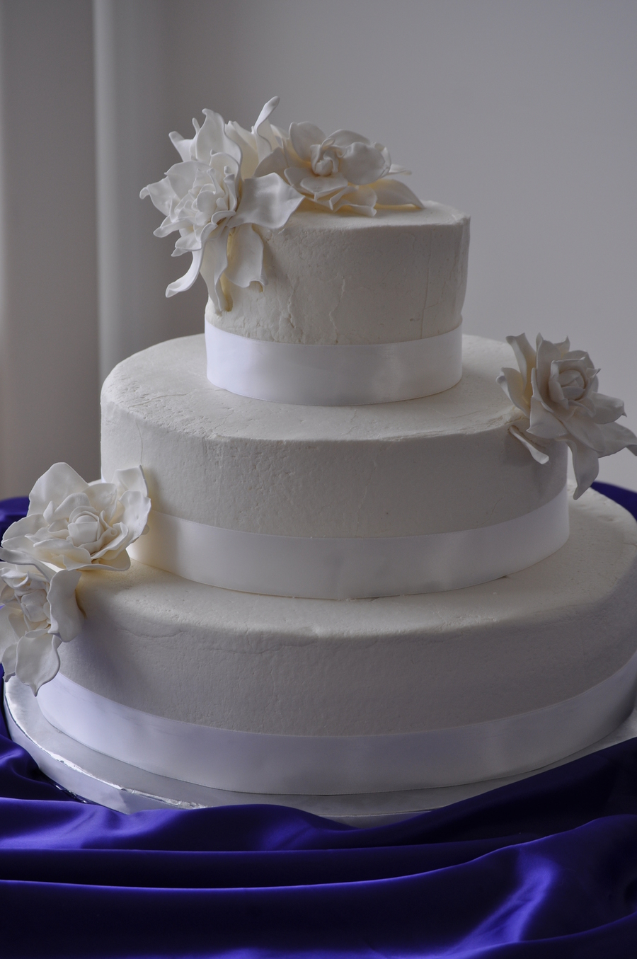 White Wedding Cake With Gardenias on Cake Central