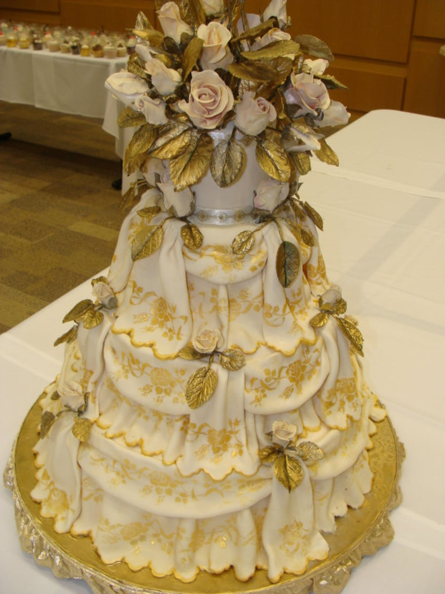 Golden Roses Wedding Cake on Cake Central