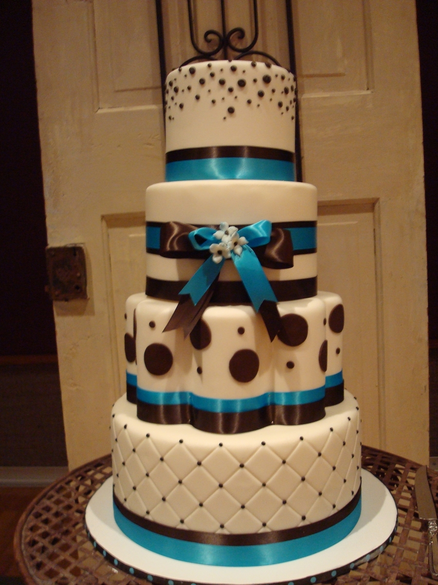 Teal, Brown And White Wedding  on Cake Central