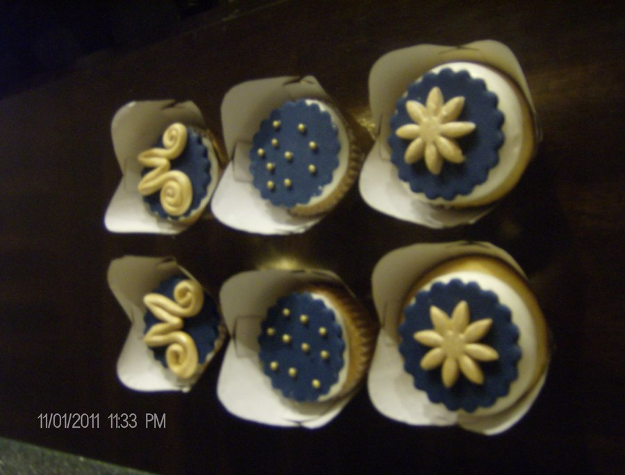 Blue And Gold Cupcakes on Cake Central