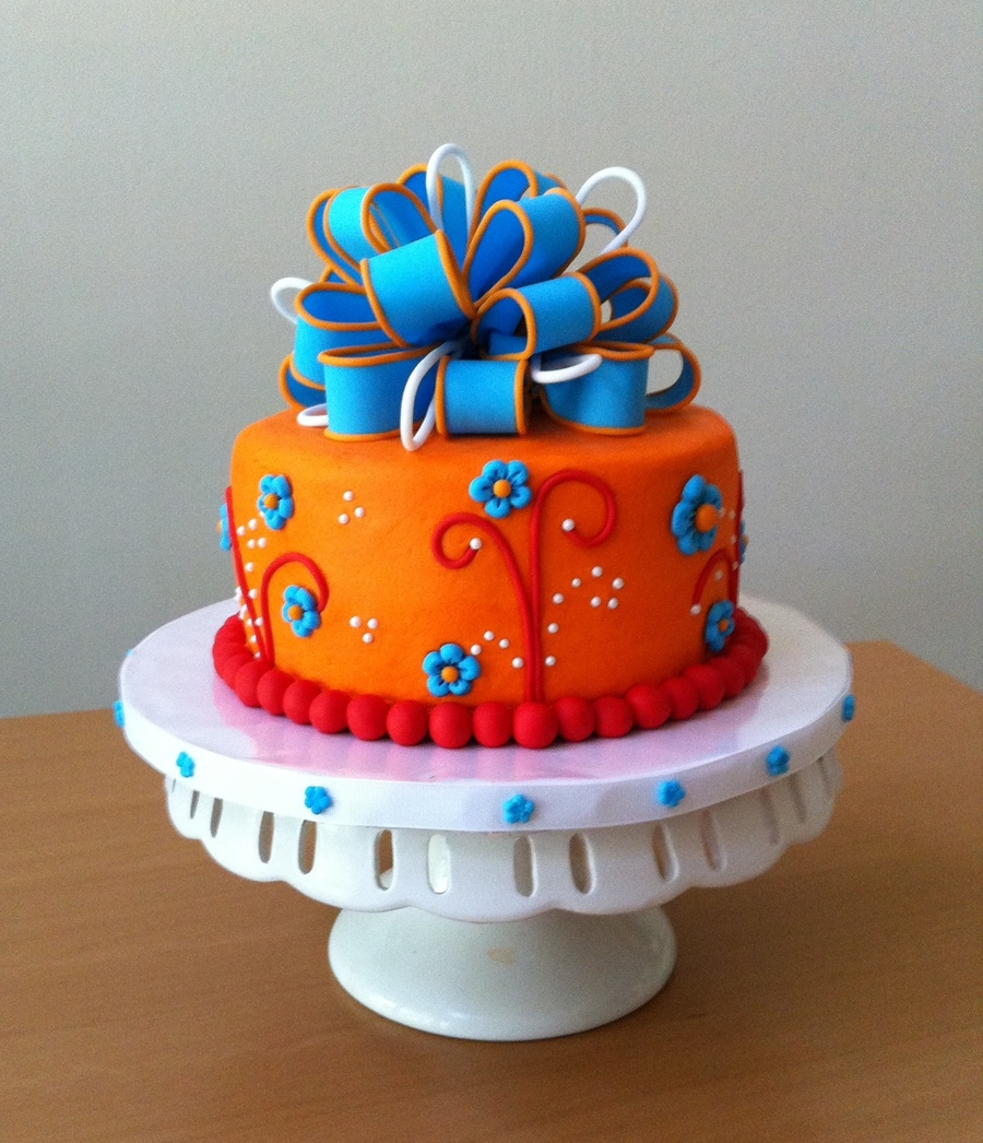 Orange And Blue Birthday Cake CakeCentralcom
