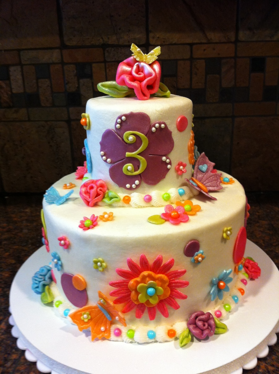 8 Inch Base With A 4 Inch Top Oh How I Want A 5 Or 7 Inch Cake Pan Frosted In Buttercream Modeling Chocolate Flowers And Accents Lots on Cake Central
